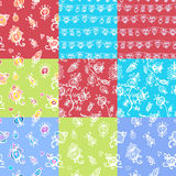 Set of nine floral seamless patterns. Set Of Nine Textured Natural Seamless Patterns Backgrounds Stock Image