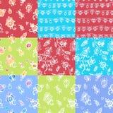 Set of nine floral seamless patterns Stock Image