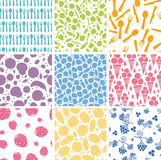 Set of nine food seamless patterns backgrounds Stock Photo