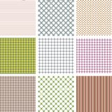 Set of nine geometric seamless patterns in retro style. Can be used to fabric design, wallpaper, decorative paper, web design, etc stock illustration