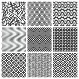 Set of nine geometrical patterns Stock Photos