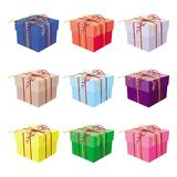 Set of nine gift boxes Stock Images