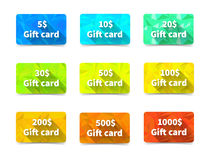 Set of nine gift cards different value and colours on triangulated background with shadow Royalty Free Stock Photos