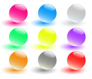 Set of nine glass spheres Stock Photos