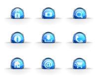 Set of nine glossy circular icons: Royalty Free Stock Photography
