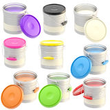 Set of nine glossy paint buckets isolated Royalty Free Stock Photography