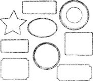 Set of nine grunge black vector templates for rubber stamps.  vector illustration