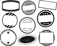 Set of nine grunge vector templates for rubber stamps Stock Photo