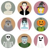 Set of nine Halloween characters Stock Images