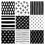 Scandinavian style abstract seamless patterns set. Vector illustration. Stock Photos