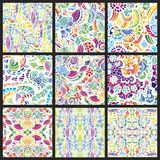 Set of nine hand-drawn seamless patterns Royalty Free Stock Photo