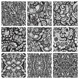 Set of nine hand-drawn seamless patterns Royalty Free Stock Photos