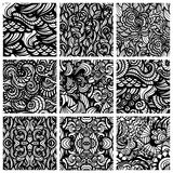Set of nine hand-drawn seamless patterns Stock Image