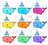 Set of nine happy color sperm whales Royalty Free Stock Images