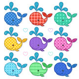 Set of nine happy color whales Royalty Free Stock Images