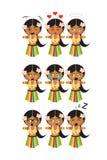 Set of nine hawaii dancer emojis with nine different emotions stock illustration
