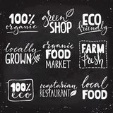 Set of nine healthy food logo with lettering. Organic food hand drawn text combinations. White letters on black background stock illustration