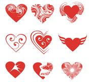 Set of the nine of hearts Stock Photo