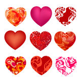 Set of nine hearts. Original set of isolated hearts made in a variety of unique technology. Vector illustration Royalty Free Stock Image