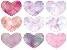 Heart set. A set of nine hearts with pastel pink and few other colors stock illustration