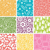 Set of nine household objects seamless patterns Stock Photos