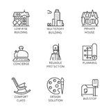 Set of nine icon city and service concept. Urban symbols. Nine logo drawn in outline style. Simple black line image of construction of houses, bus stops Stock Image