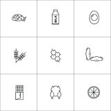A set of nine icons of food allergens. Stock Photo
