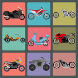 Set of nine icons of motorbikes Royalty Free Stock Photos