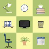 Set of nine icons of office elements royalty free illustration