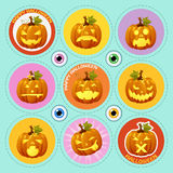 Set of nine icons pumpkin with different face Stock Photos