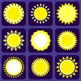 Set of Nine Icons With Sun Stock Photo