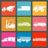 Set of nine icons of trucks. Vector illustration Royalty Free Stock Photo