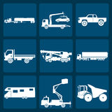Set of nine icons of trucks. Vector illustration Royalty Free Stock Image
