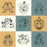 Set of nine illustration on Martial Arts topic Royalty Free Stock Photo