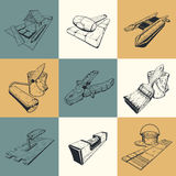 Set of nine illustrations with building tools vector illustration