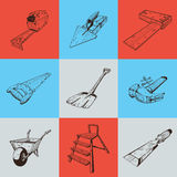 Set of nine illustrations with building tools Royalty Free Stock Photography