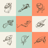 Set of nine illustrations with building tools Royalty Free Stock Image