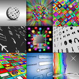 A set of nine images. Abstraction of nine different pictures on the internet for designers for different necessities Royalty Free Stock Image