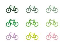 Set of nine images of a bicycle of different shades of green royalty free illustration