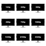 Set of nine images of video file formats on TVs vector illustration