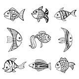 Set of nine isolated hand drawn black outlines fishes on white background. Set of nine isolated hand drawn black outlines fishes on white background Royalty Free Stock Images
