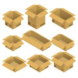 Set of nine isometric open cardboard transportation boxes, parcels isolated on white background. Set of isometric open cardboard boxes, parcels isolated on Royalty Free Stock Image