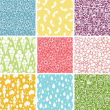 Set of nine kiddie things seamless patterns Royalty Free Stock Photo