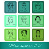 Set of nine male avatars, can be used on the websi Royalty Free Stock Photo