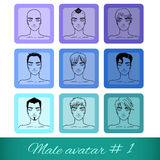 Set of nine male avatars, can be used on the website or forum Royalty Free Stock Images