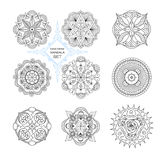 A set of nine mandalas. A set of nine mandalas in the style of boho. Abstract circular pattern of contour lines Stock Photography