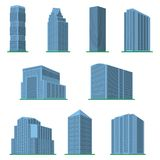 Set of nine modern high-rise building on a white background. View of the building from the bottom. Isometric vector illustration Royalty Free Stock Image