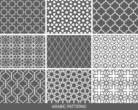 Set of nine monochrome Arabic patterns Royalty Free Stock Images