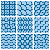 Set of nine monochrome geometrical patterns Royalty Free Stock Photos