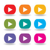 A set of nine movie buttons. In rainbow colors Stock Photos